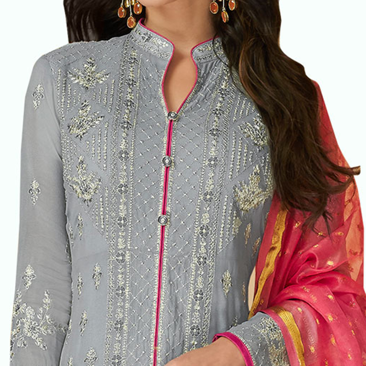 Appealing Gray Colored Partywear Embroidered Georgette Suit