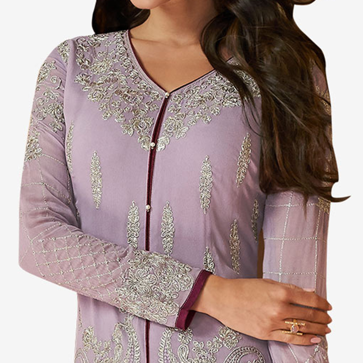 Capricious Pastel Purple Colored Partywear Embroidered Georgette Suit