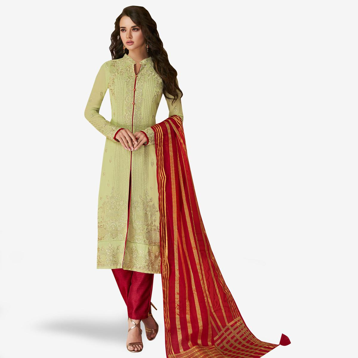Entrancing Green Colored Partywear Embroidered Georgette Suit