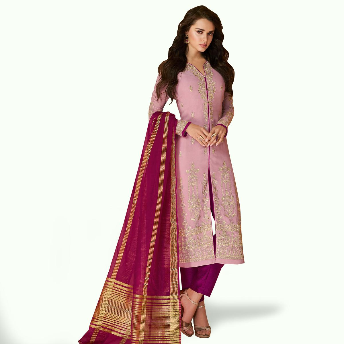 Groovy Pink Colored Partywear Embroidered Georgette Suit