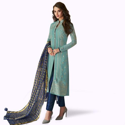 Prominent Pastel Blue Colored Partywear Embroidered Georgette Suit