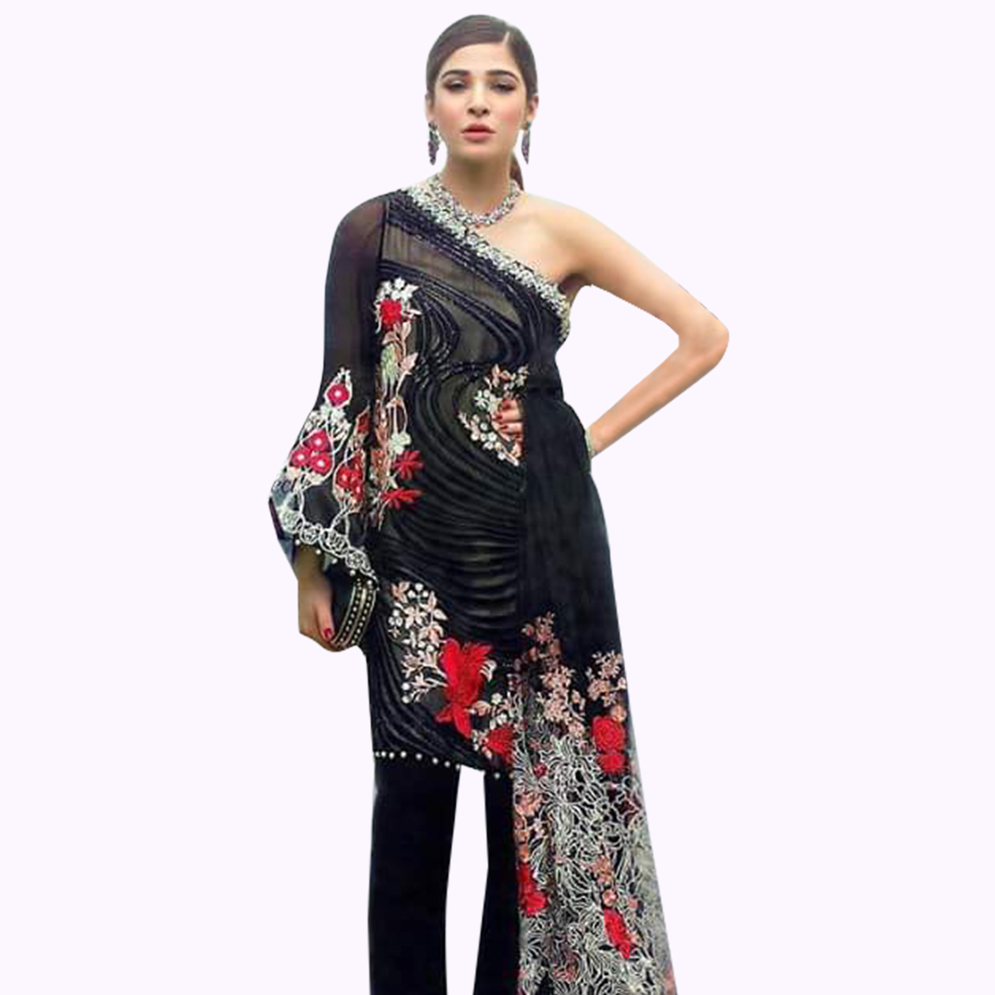 Demanding Black Colored Partywear Embroidered Georgette Dress Material