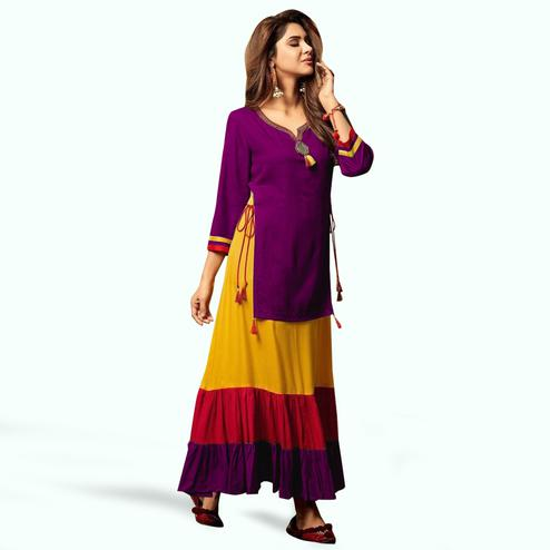 Capricious Purple Colored Party Wear Fancy Rayon Kurti