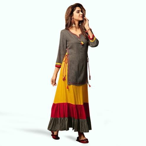 Groovy Gray Colored Party Wear Fancy Rayon Kurti