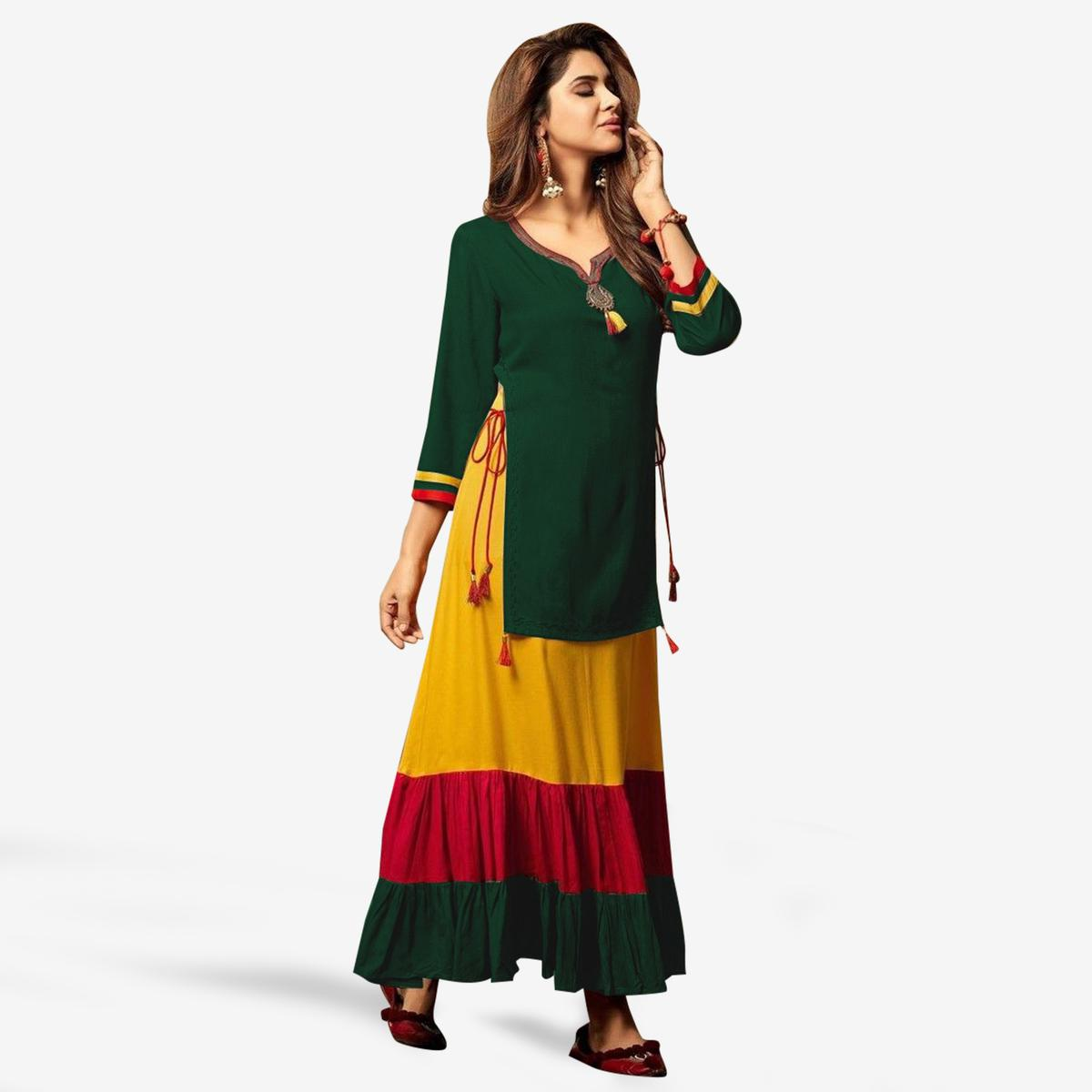 8a6286a3ee4 Buy Prominent Green Colored Party Wear Fancy Rayon Kurti online India