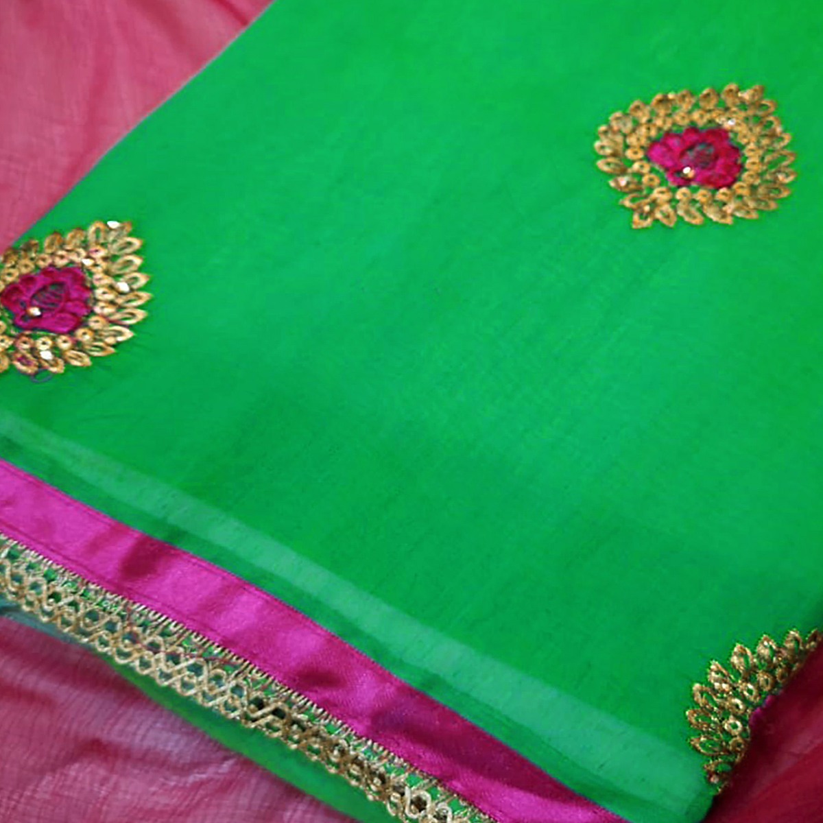 Classy Green Colored Partywear Embroidered Chanderi Silk Dress Material
