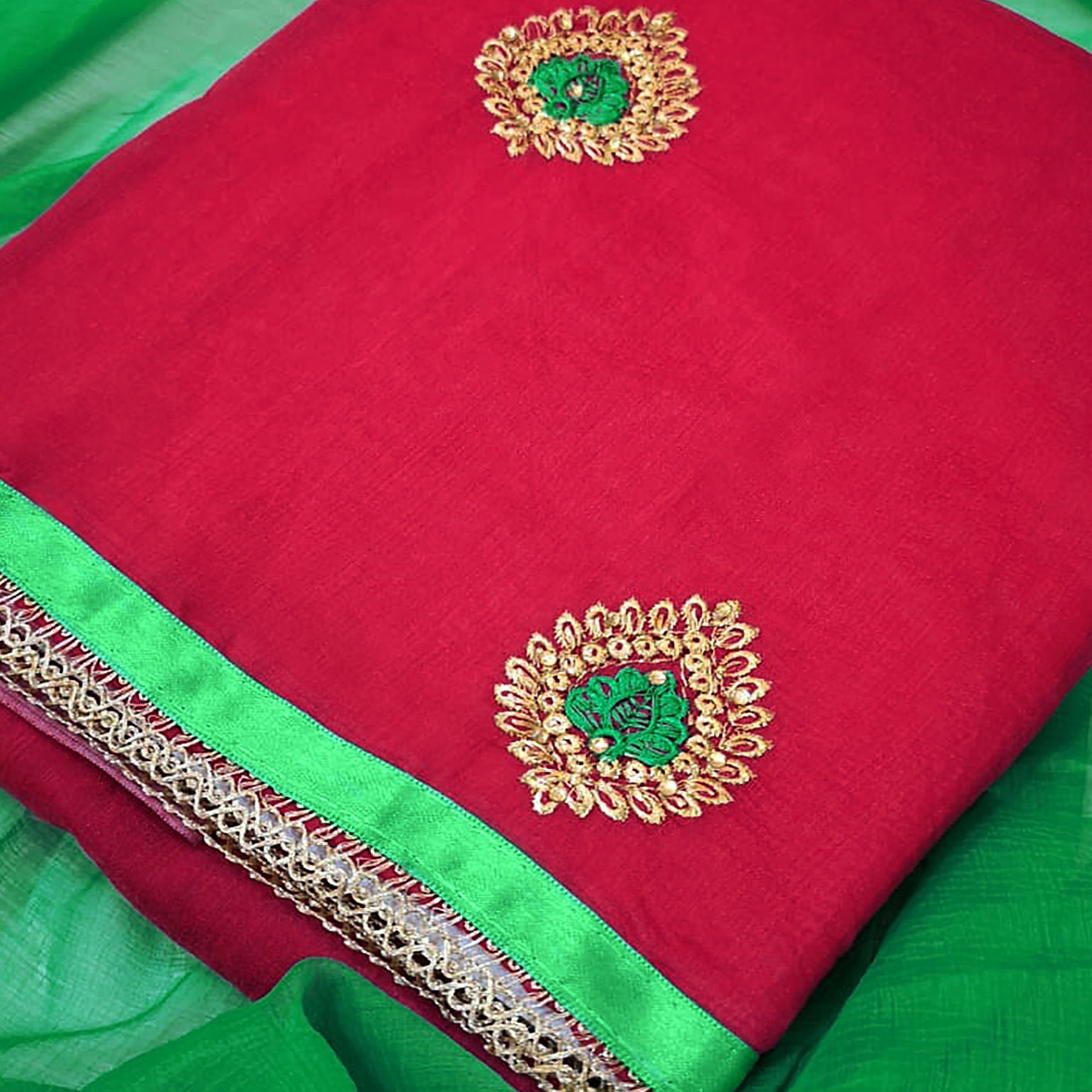 Pretty Pink Colored Partywear Embroidered Chanderi Silk Dress Material