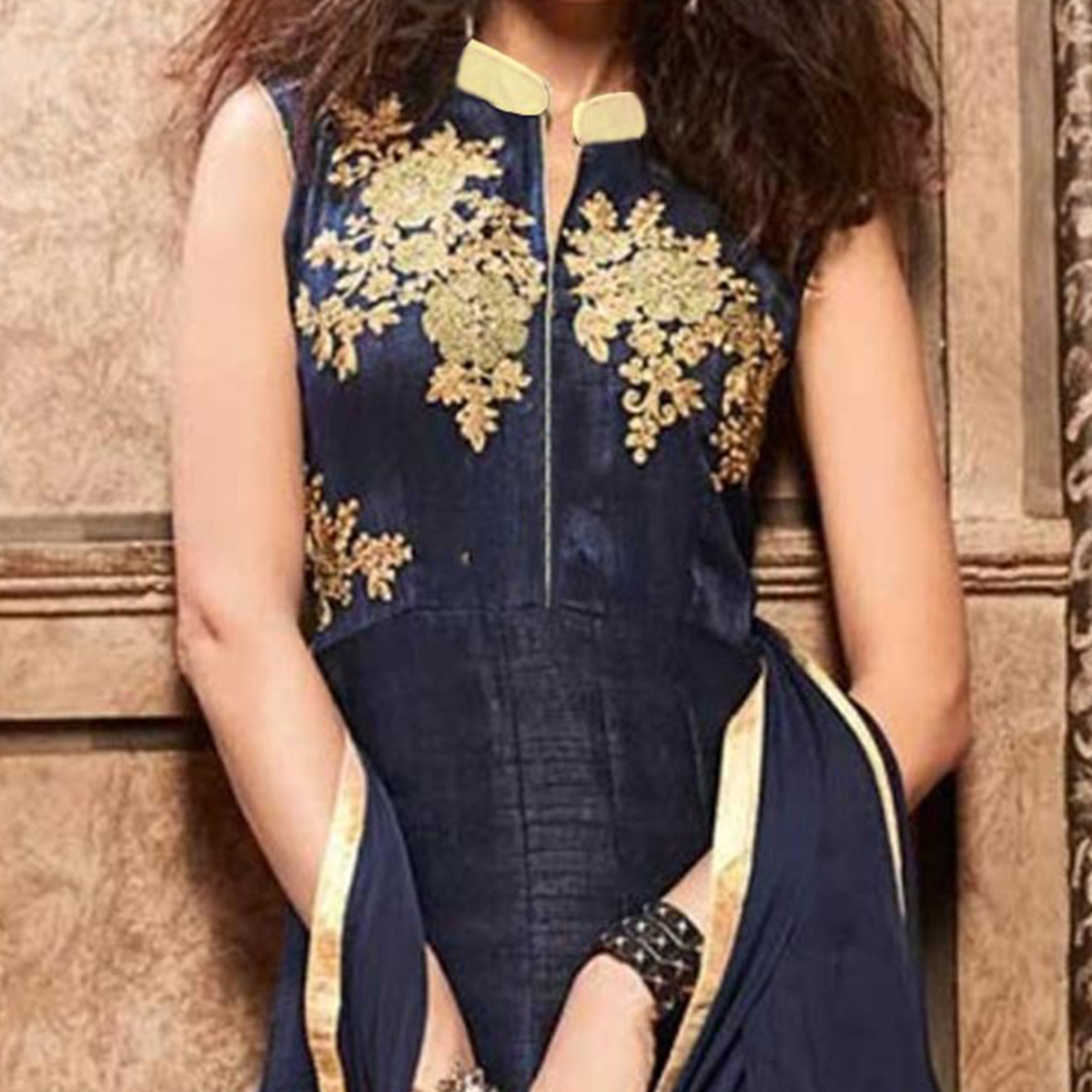 Navy Blue Indo Western Gown