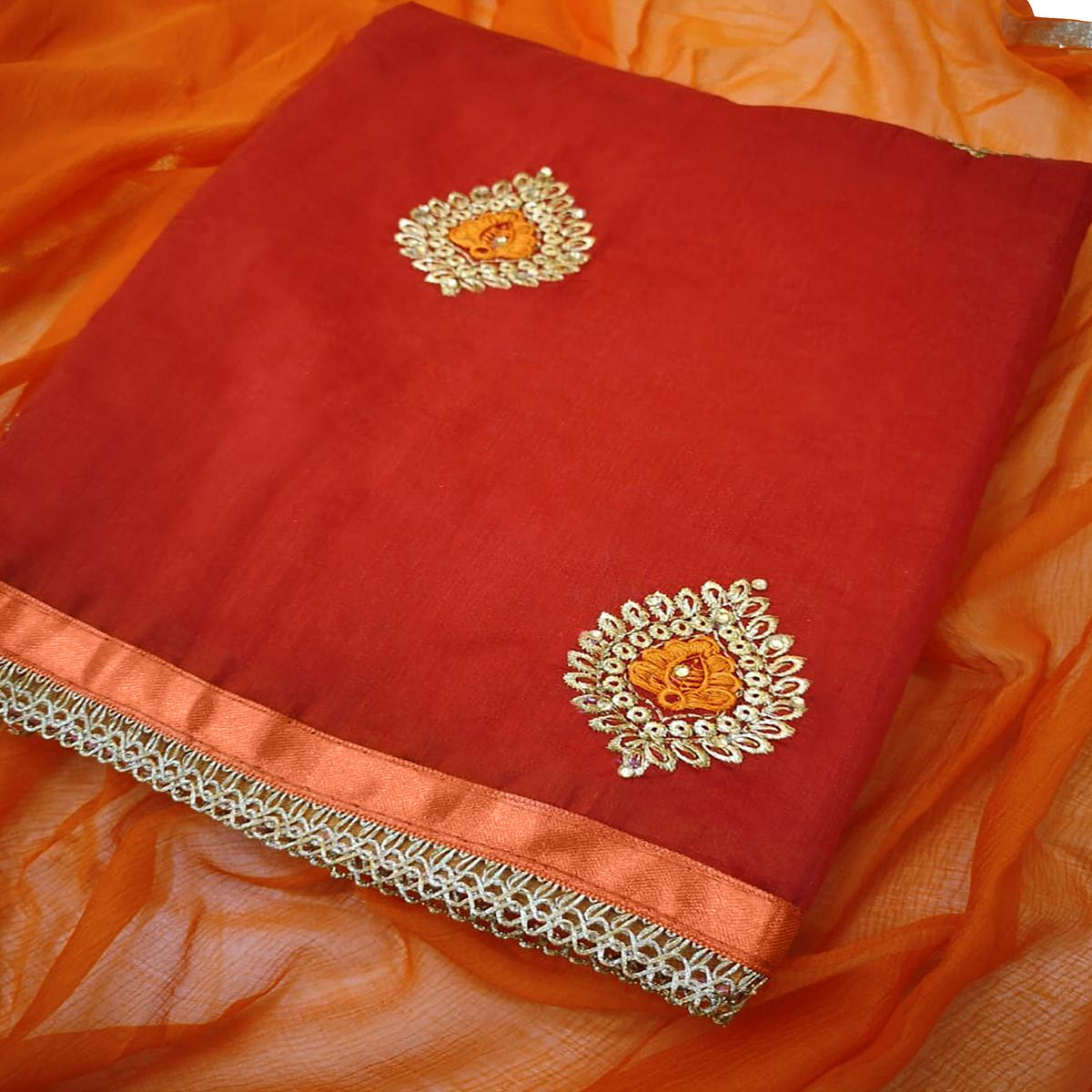 Lovely Red Colored Partywear Embroidered Chanderi Silk Dress Material