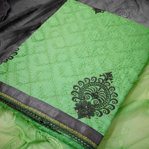Attractive Green Colored Partywear Embroidered Crepe Dress Material