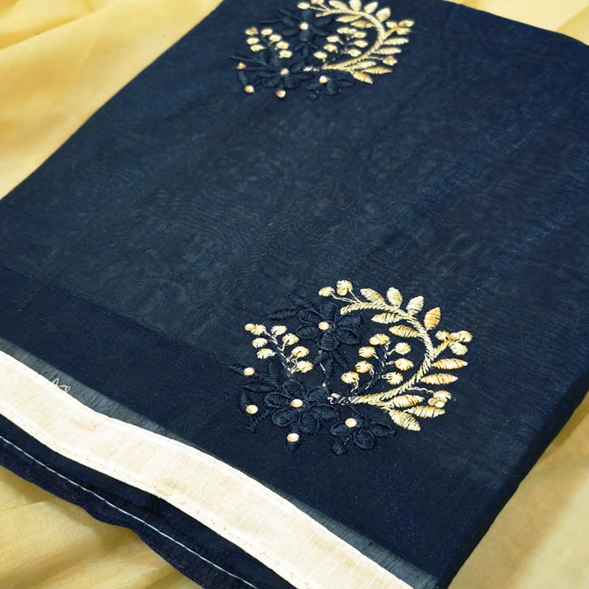 Graceful Navy Blue Colored Partywear Embroidered Chanderi Silk Dress Material
