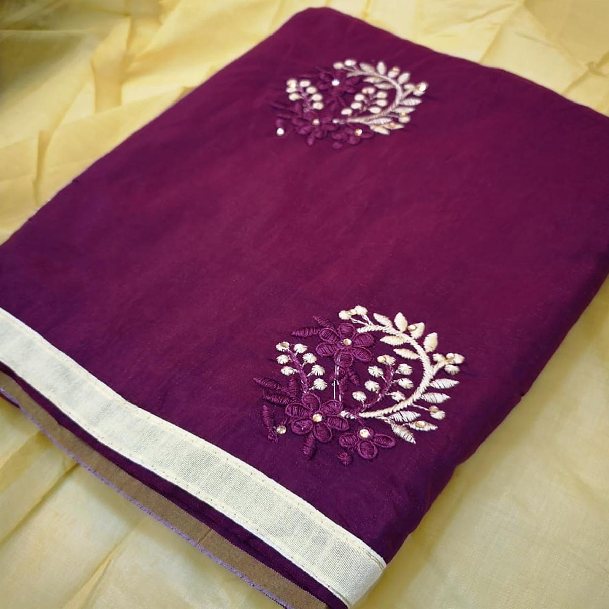 Charming Purple Colored Partywear Embroidered Chanderi Silk Dress Material