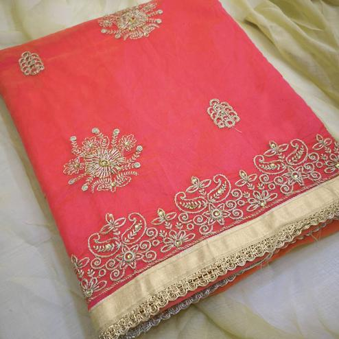 Delightful Pink Colored Partywear Embroidered Chanderi Silk Dress Material