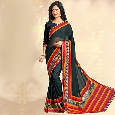 Black Casual Printed Chiffon Saree