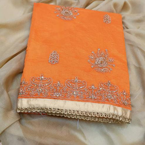 Engrossing Orange Colored Partywear Embroidered Chanderi Silk Dress Material