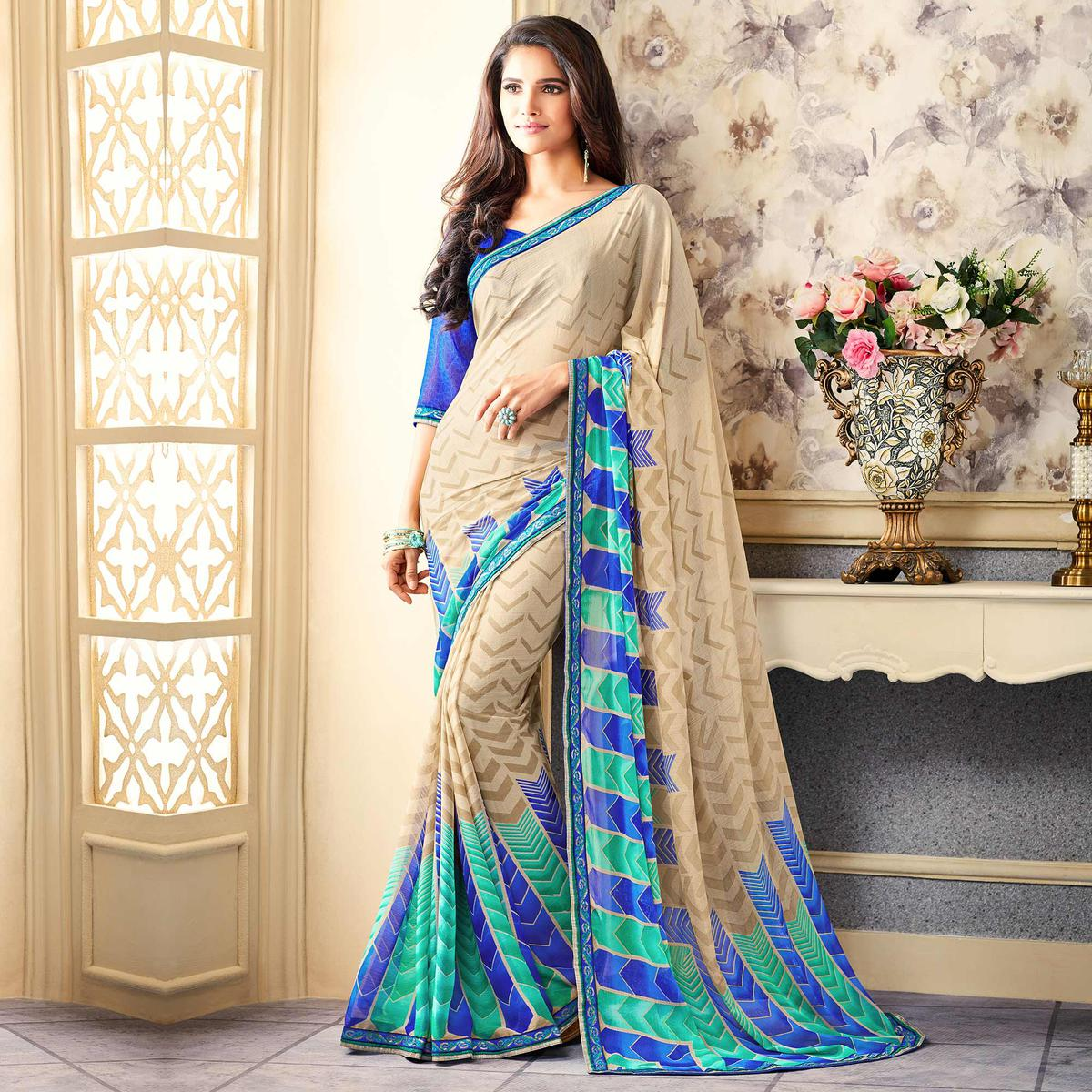 Beige-Blue Casual Printed Chiffon Saree