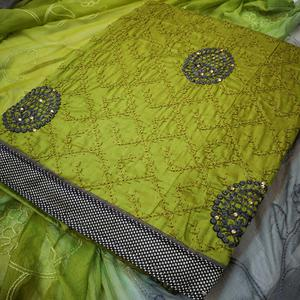Fantastic Mehendi Green Colored Partywear Embroidered Crepe Dress Material