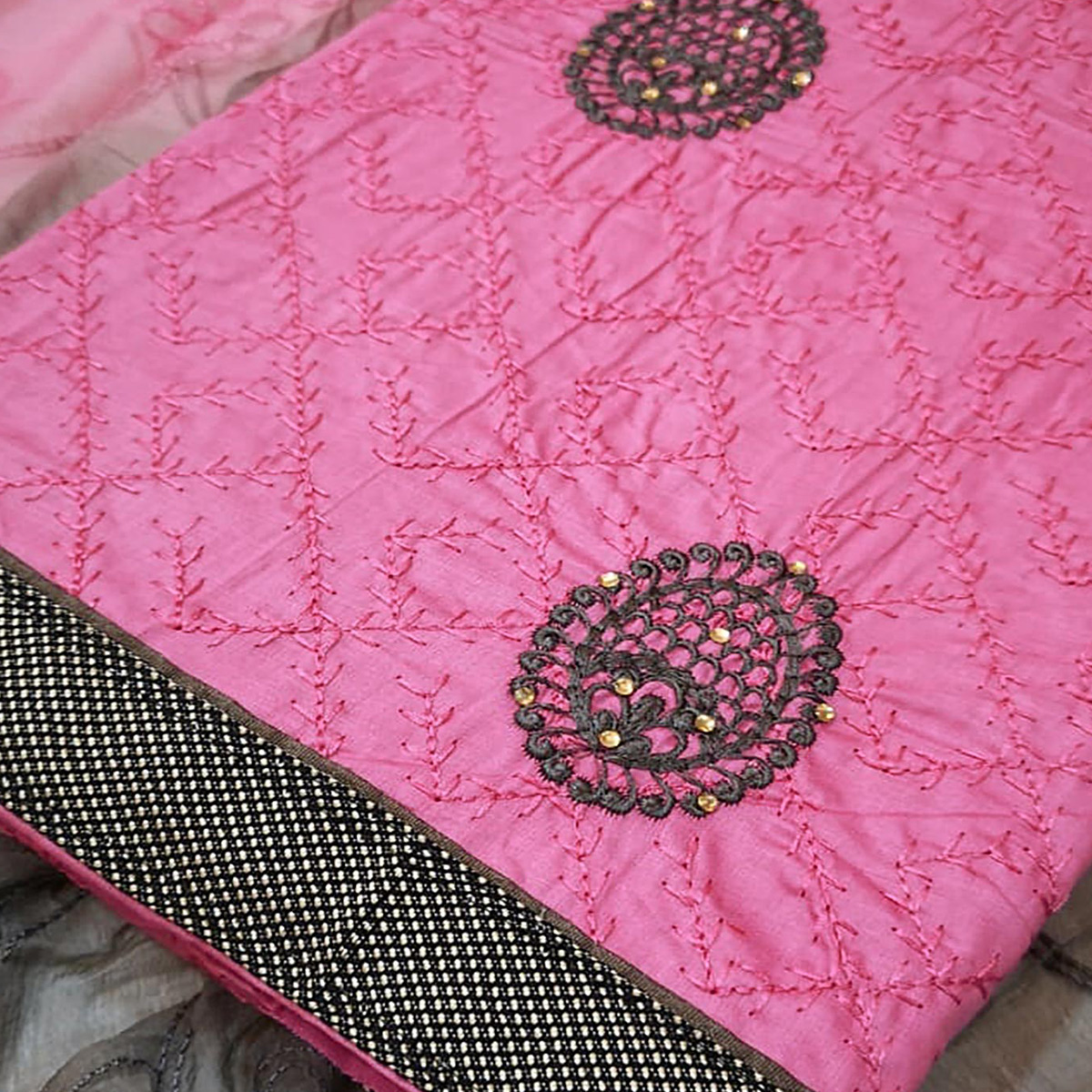 Gorgeous Pink Colored Partywear Embroidered Crepe Dress Material
