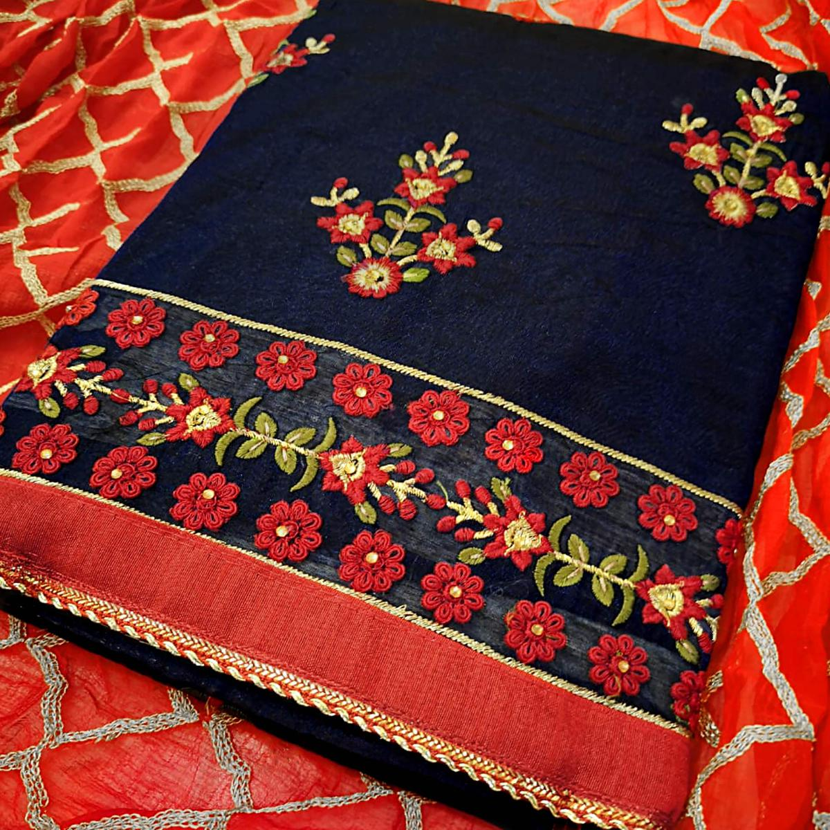 Blissful Navy Blue Colored Partywear Embroidered Chanderi Silk Dress Material