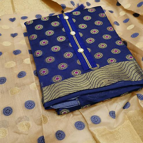 Ravishing Blue Colored Partywear Embroidered Banarasi Silk Dress Material