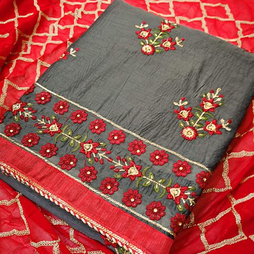 Imposing Gray Colored Partywear Embroidered Chanderi Silk Dress Material