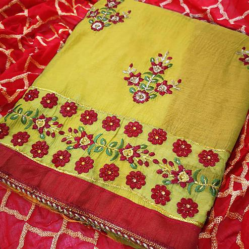 Lovely Lemon Green Colored Partywear Embroidered Chanderi Silk Dress Material