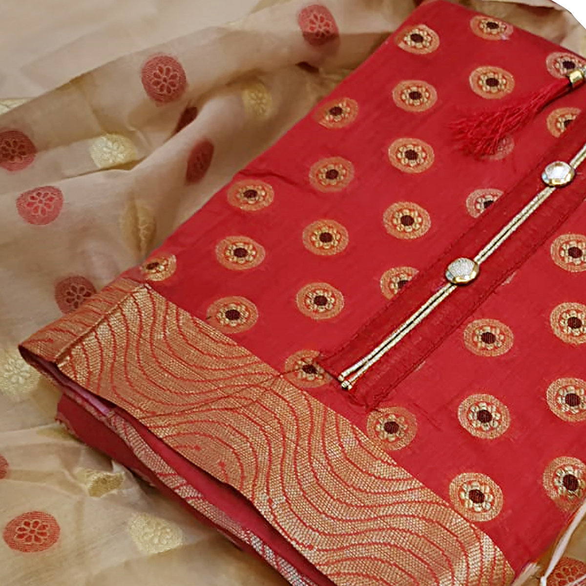 Staring Red Colored Partywear Embroidered Banarasi Silk Dress Material