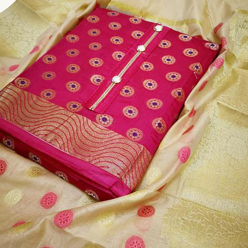 Dazzling Pink Colored Partywear Embroidered Banarasi Silk Dress Material