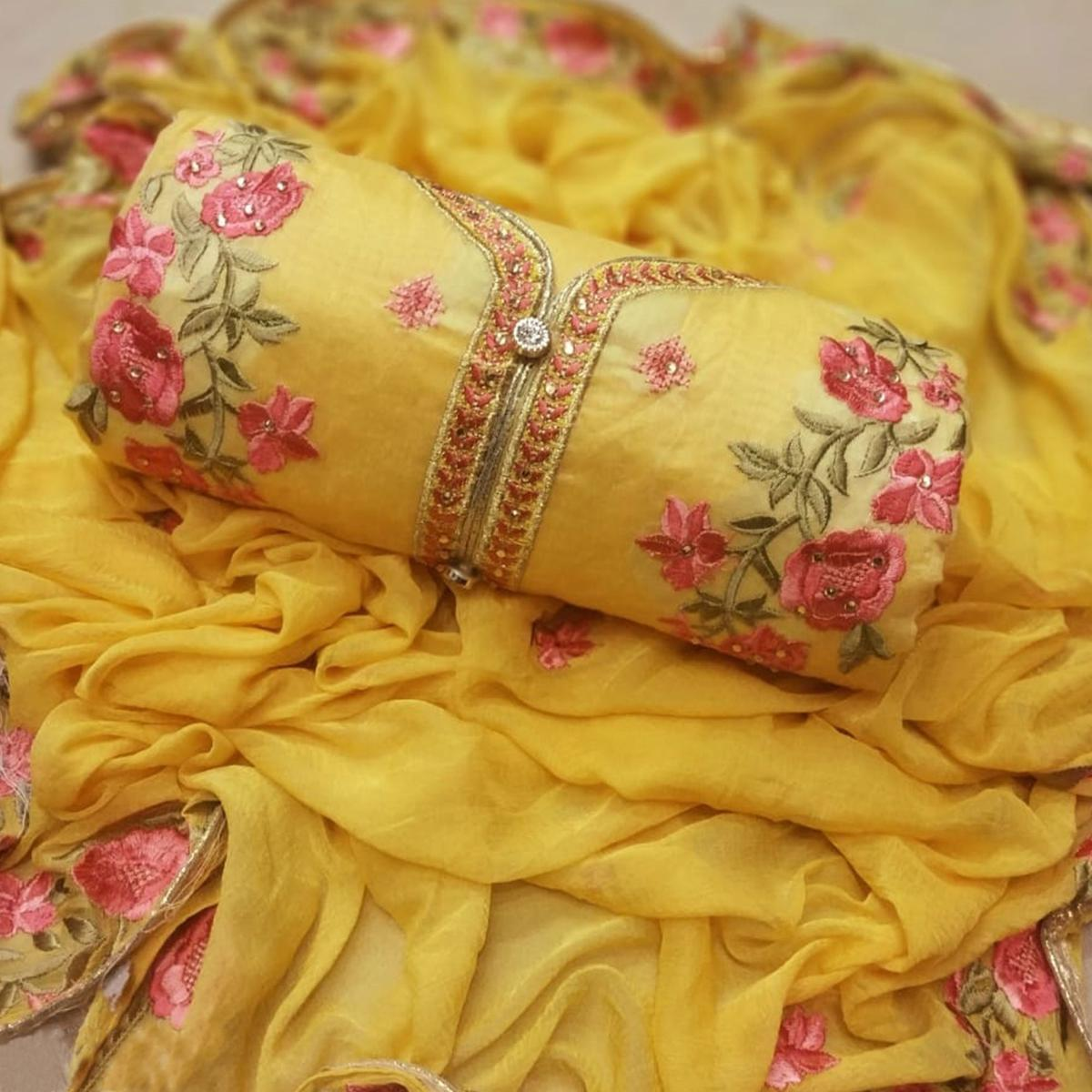 Pleasance Yellow Colored Party Wear Embroidered Chanderi Silk Dress Material