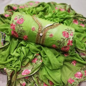 Breathtaking Green Colored Party Wear Embroidered Chanderi Silk Dress Material