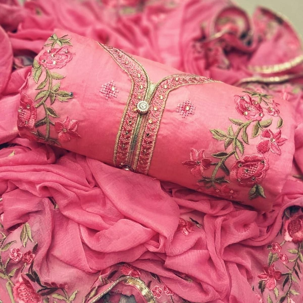 Ethnic Pink Colored Party Wear Embroidered Chanderi Silk Dress Material