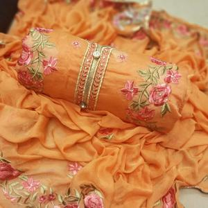 Ravishing Orange Colored Party Wear Embroidered Chanderi Silk Dress Material