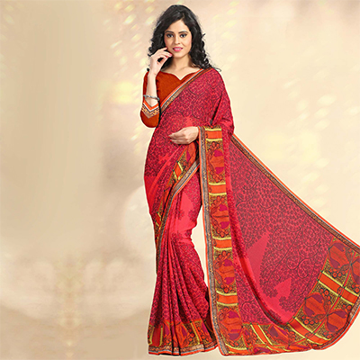 Red Casual Printed Chiffon Saree