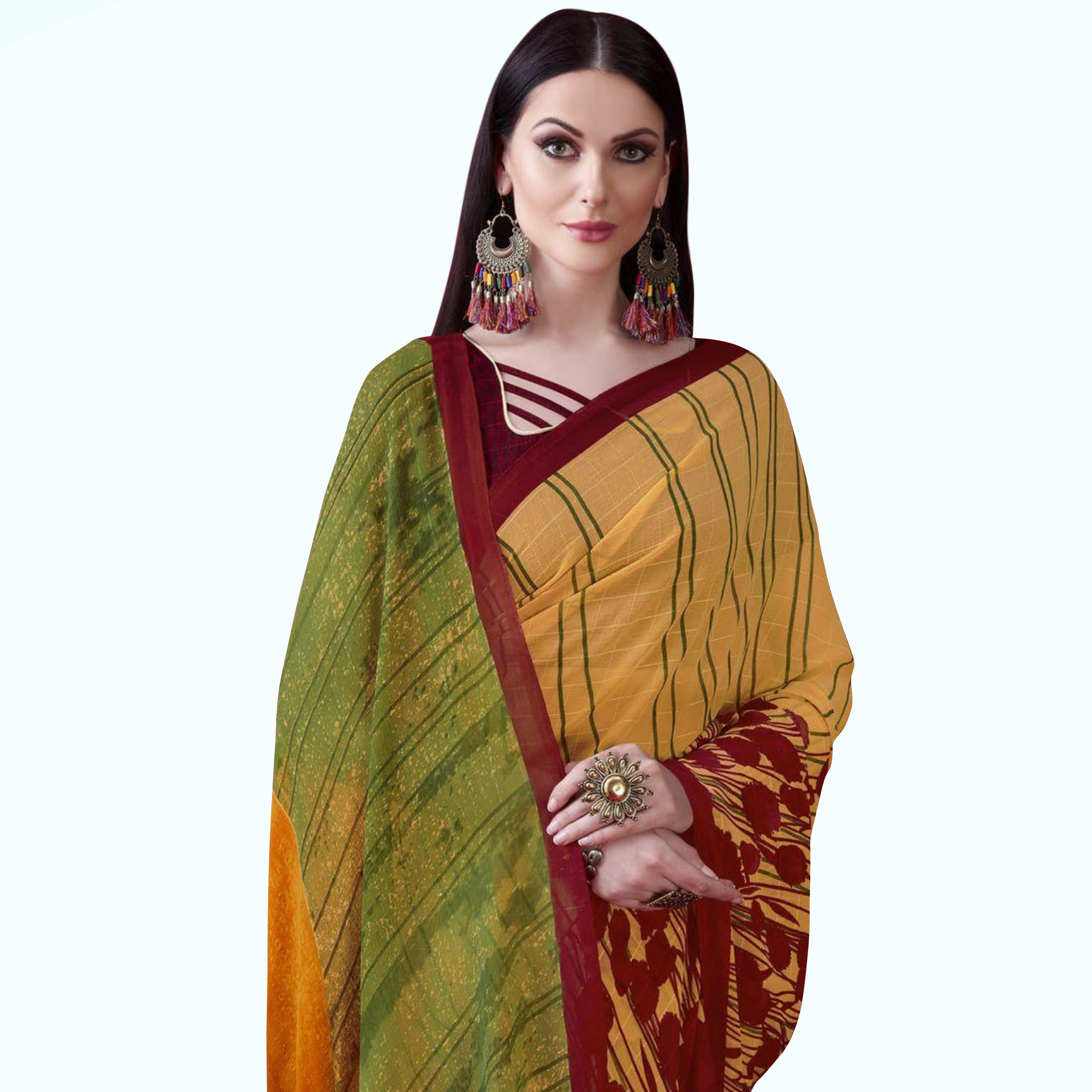Blissful Yellow Colored Casual Printed Chiffon Saree