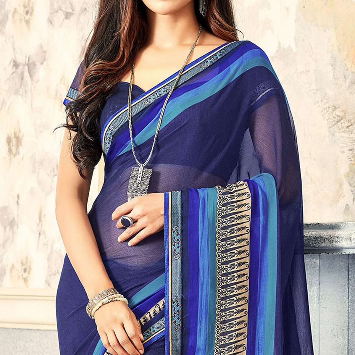 Navy Blue Casual Printed Chiffon Saree