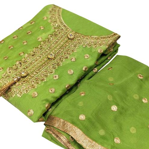 Innovative Green Colored Party Wear Embroidered Chanderi Silk Dress Material
