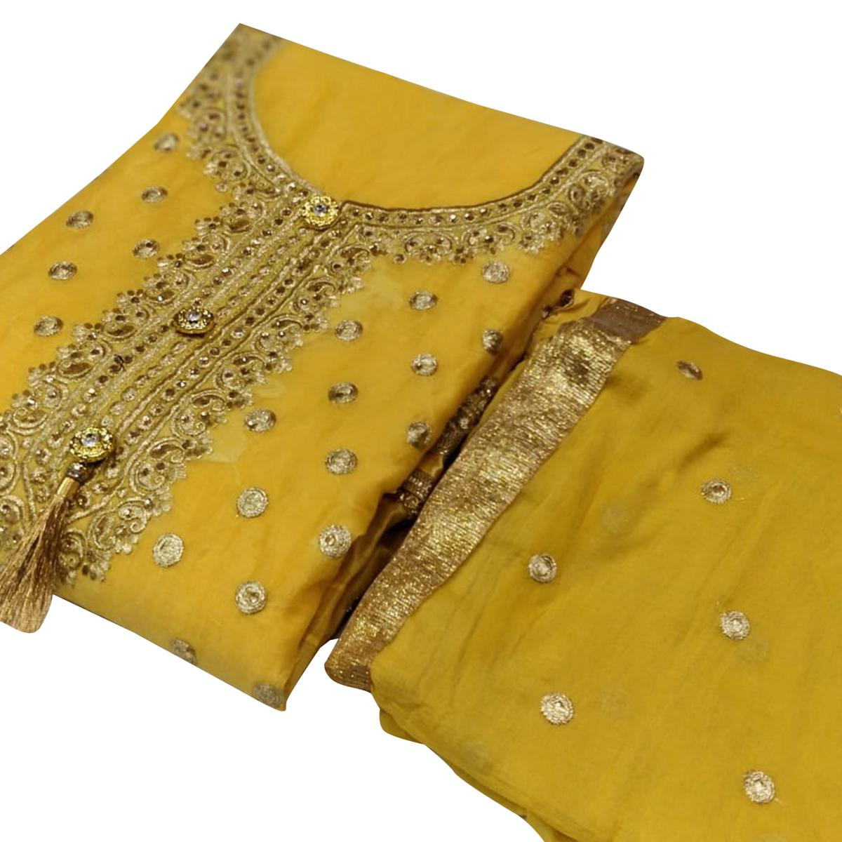 Eye-catching Yellow Colored Party Wear Embroidered Chanderi Silk Dress Material