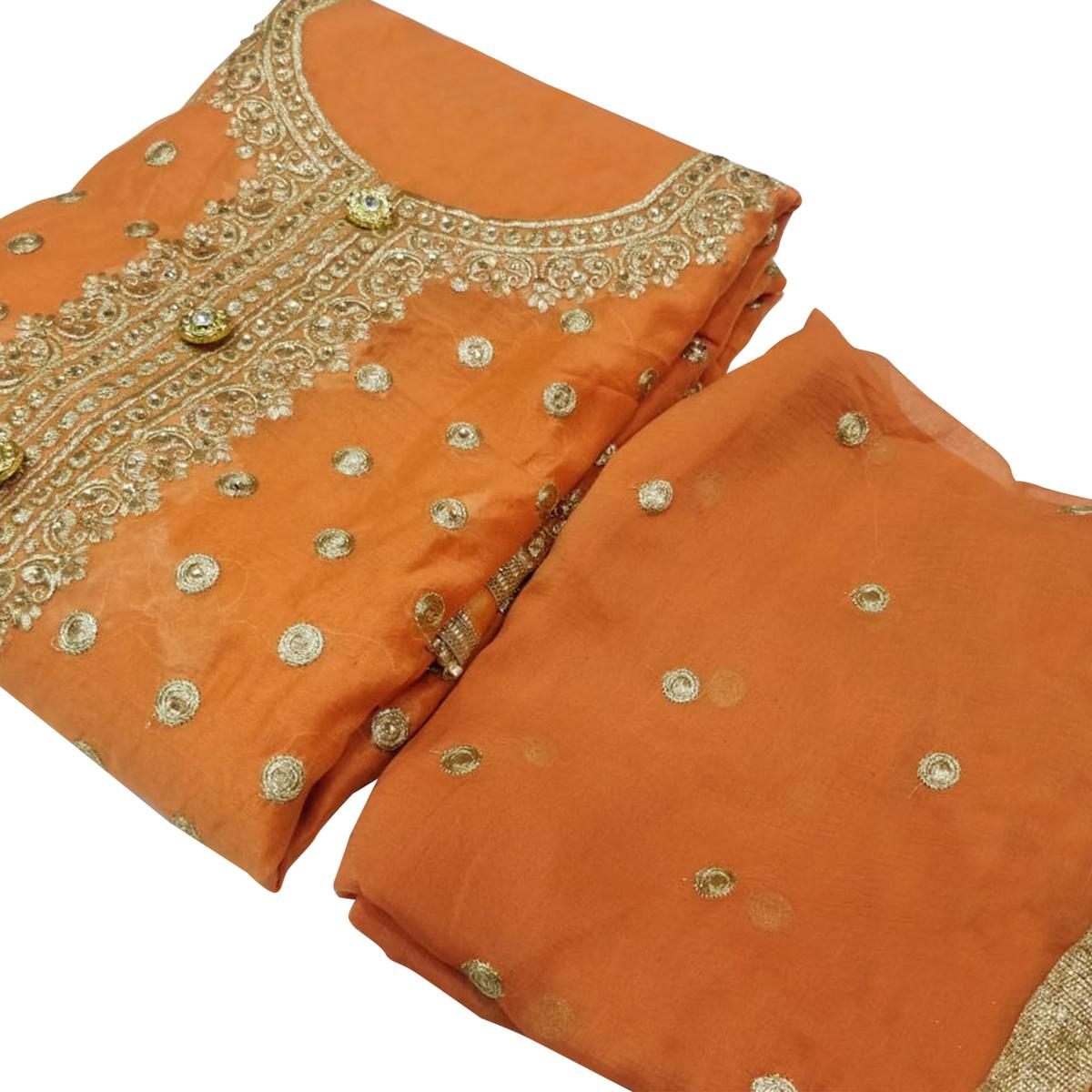 Fantastic Orange Colored Party Wear Embroidered Chanderi Silk Dress Material