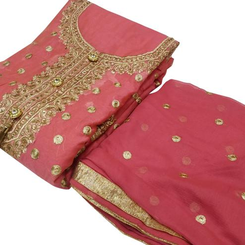Amazing Pink Colored Party Wear Embroidered Chanderi Silk Dress Material