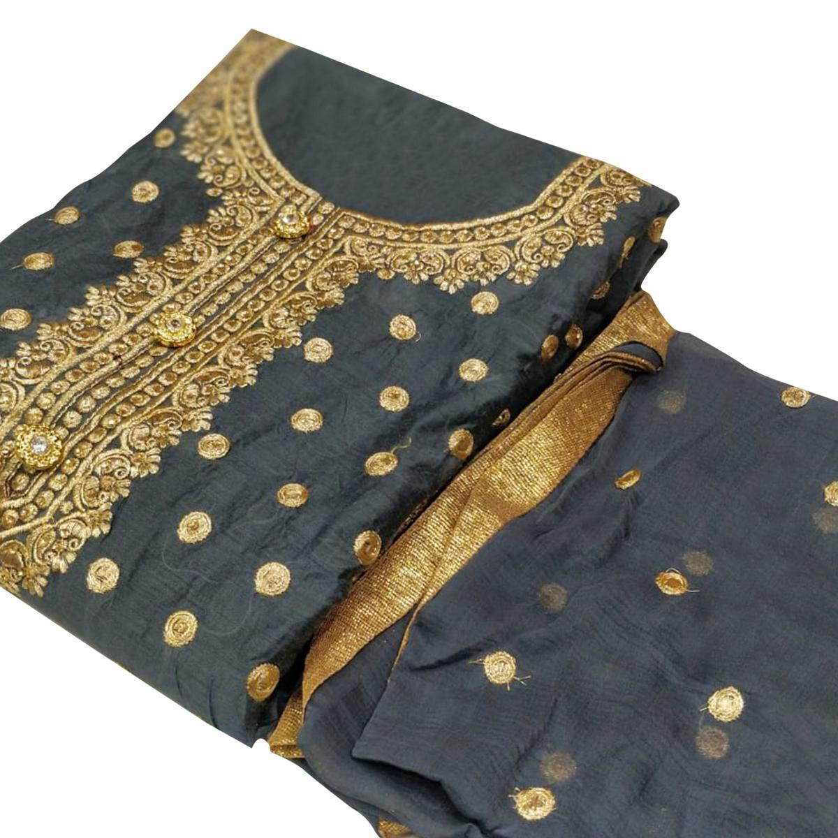 Gorgeous Gray Colored Party Wear Embroidered Chanderi Silk Dress Material