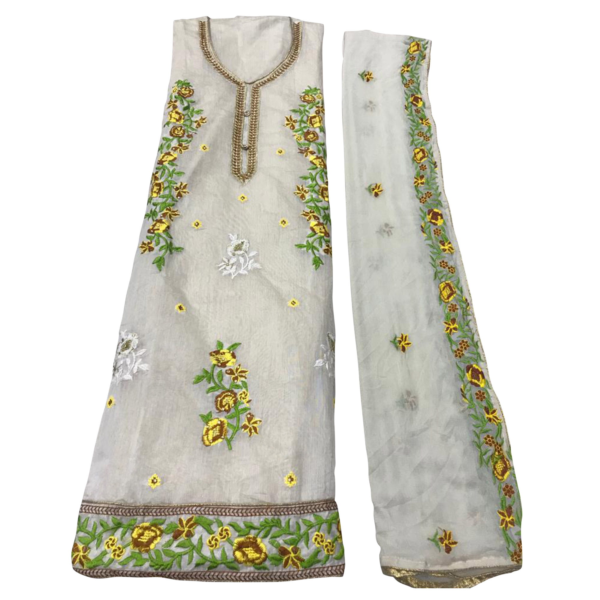 Blissful Off White - Yellow Colored Party Wear Embroidered Chanderi Silk Dress Material