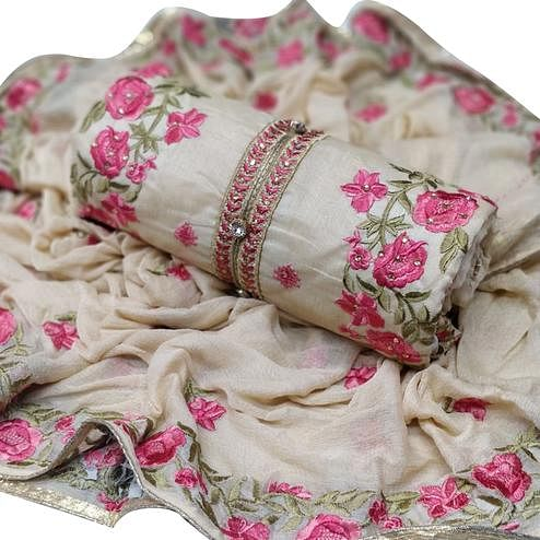 Ideal Off White - Pink Colored Party Wear Embroidered Chanderi Silk Dress Material