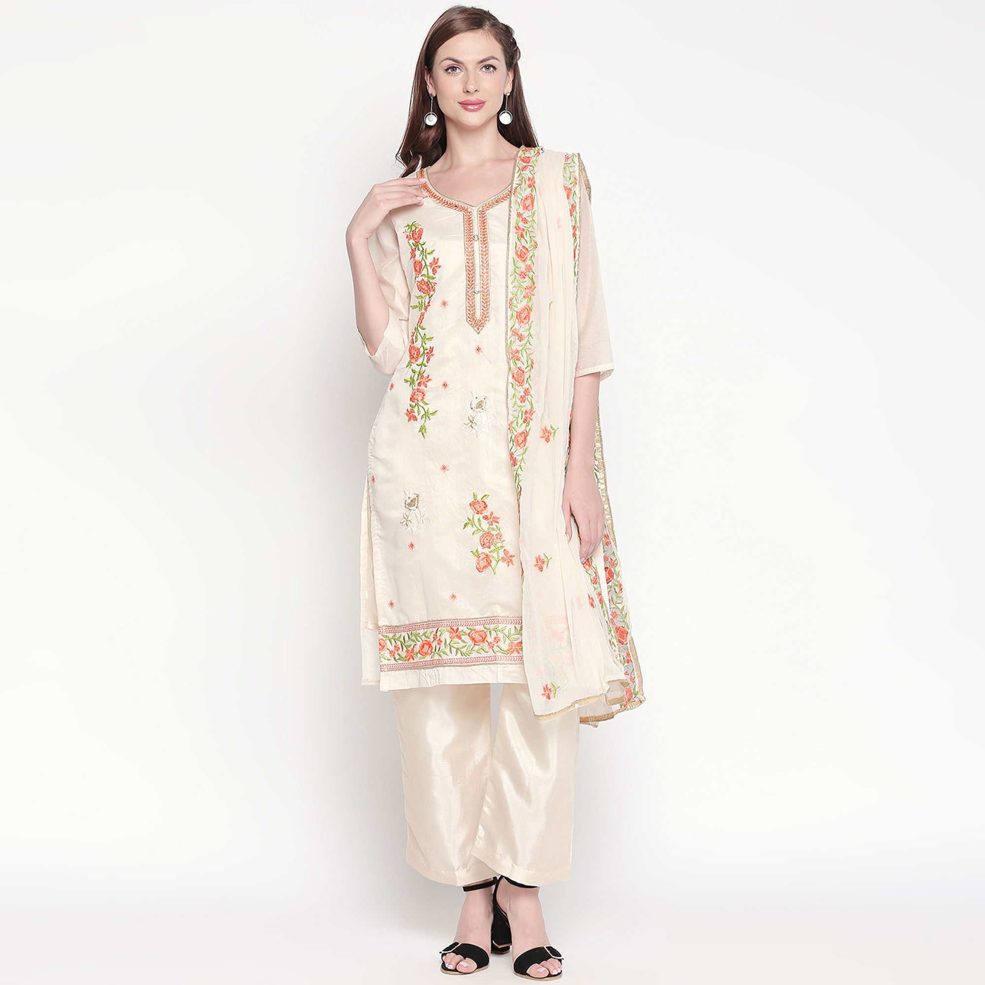 Imposing Off White - Orange Colored Party Wear Embroidered Chanderi Silk Dress Material