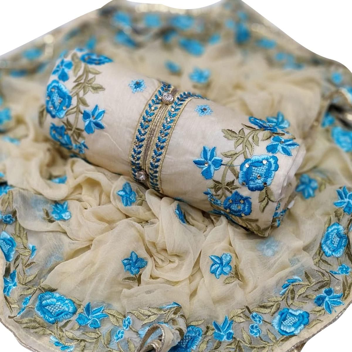 Lovely Off White - Blue Colored Party Wear Embroidered Chanderi Silk Dress Material