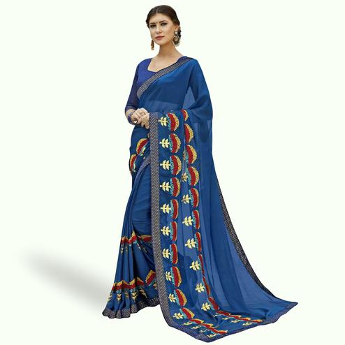 Radiant Blue Colored Partywear Embroidered Chiffon Saree