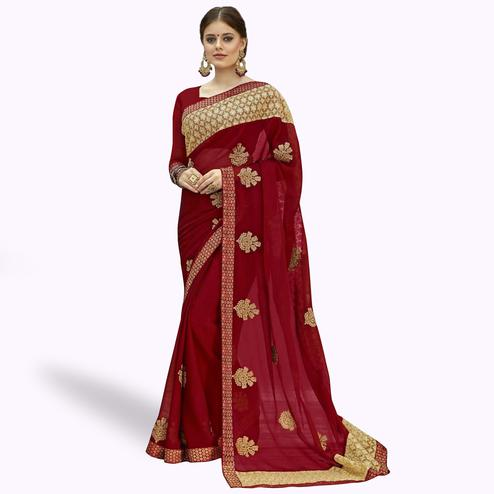 Pleasant Maroon Colored Partywear Embroidered Chiffon Saree