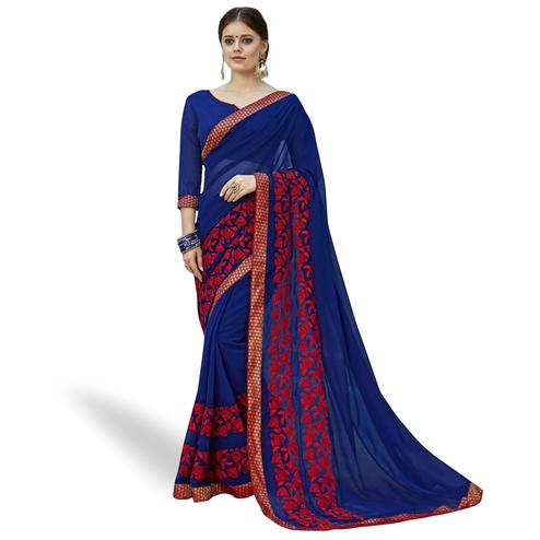 Exceptional Blue Colored Partywear Embroidered Georgette Saree