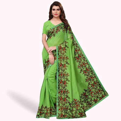 Flamboyant Green Colored Casual Wear Printed Art Silk Saree