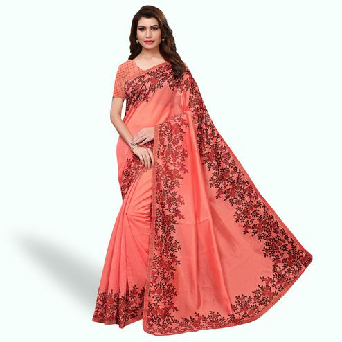 Pretty Dark Peach Colored Casual Wear Printed Art Silk Saree