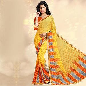 Yellow Casual Printed Chiffon Saree